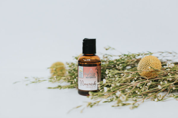 BluPeak Botanics 500 mg CBD Nourish Body Oil with plants