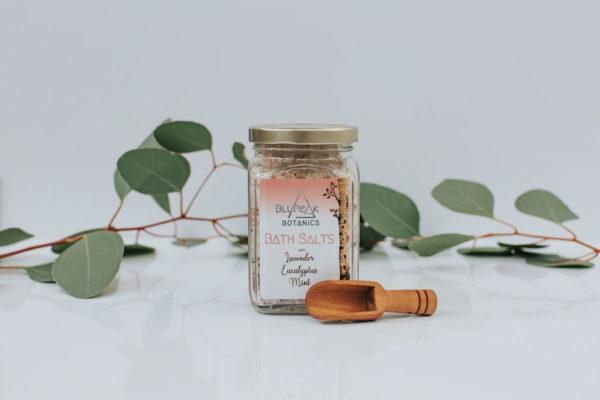 BluPeak Botanics Bath Salts with scoop and plants